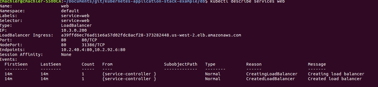 kubectl get services web output